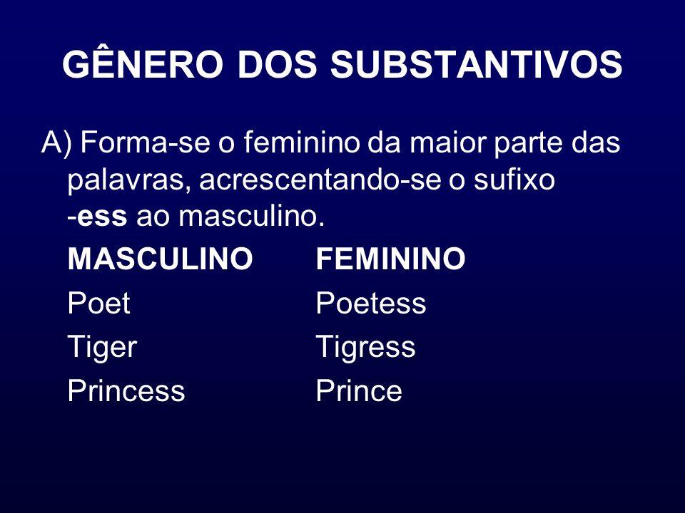 GÊNERO DOS SUBSTANTIVOS A) Forma-se o feminino da maior parte das palavras, acrescentando-se o sufixo -ess ao masculino. MASCULINOFEMININO Poet Poetes