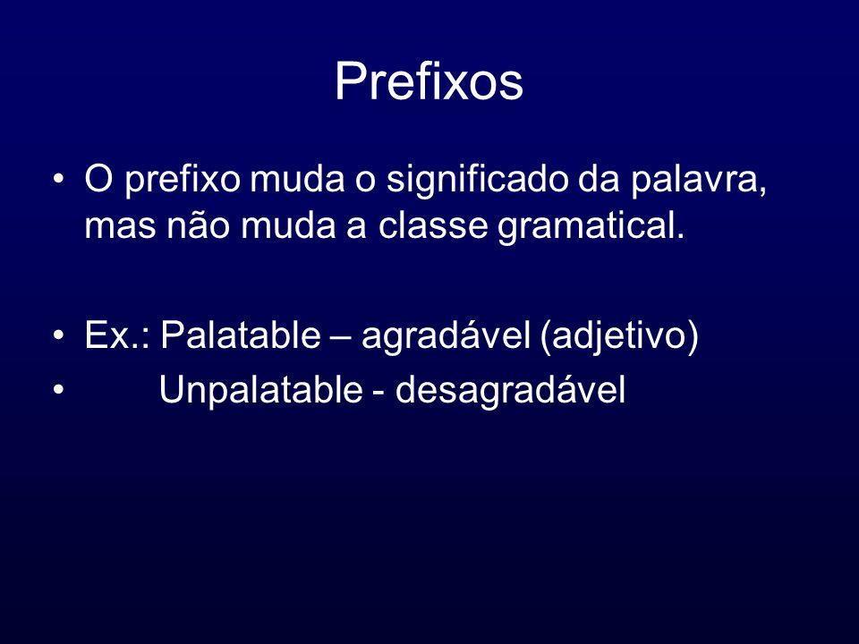 Prefixos O prefixo muda o significado da palavra, mas não muda a classe gramatical. Ex.: Palatable – agradável (adjetivo) Unpalatable - desagradável