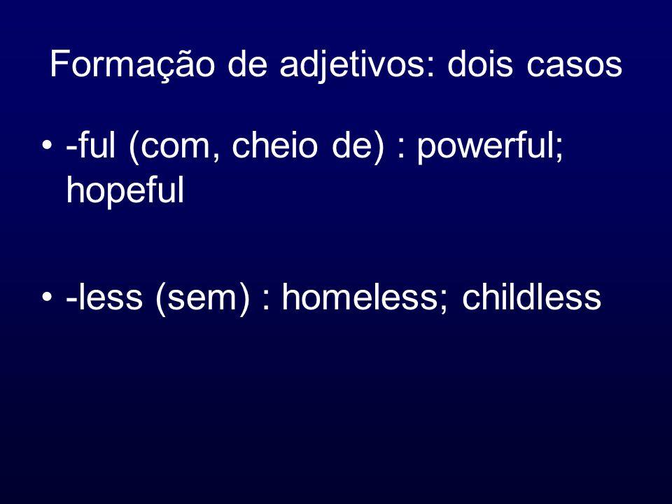 Formação de adjetivos: dois casos -ful (com, cheio de) : powerful; hopeful -less (sem) : homeless; childless