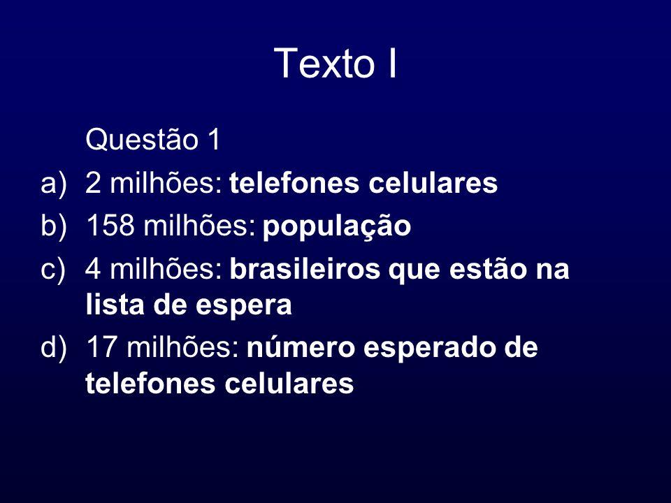 Texto I Questão 1 a)2 milhões: telefones celulares b)158 milhões: população c)4 milhões: brasileiros que estão na lista de espera d)17 milhões: número