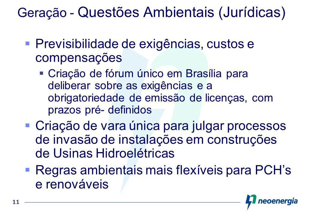 11 Geração - Questões Ambientais (Jurídicas) Previsibilidade de exigências, custos e compensações Criação de fórum único em Brasília para deliberar so
