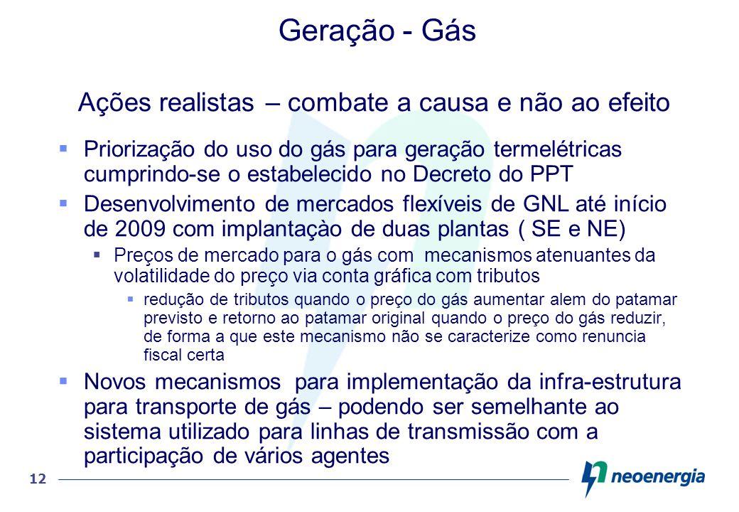 12 Geração - Gás Ações realistas – combate a causa e não ao efeito Priorização do uso do gás para geração termelétricas cumprindo-se o estabelecido no