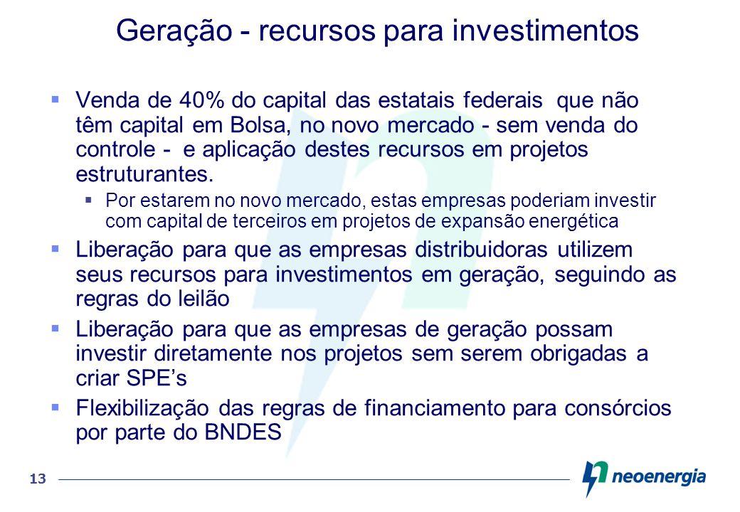 13 Geração - recursos para investimentos Venda de 40% do capital das estatais federais que não têm capital em Bolsa, no novo mercado - sem venda do co