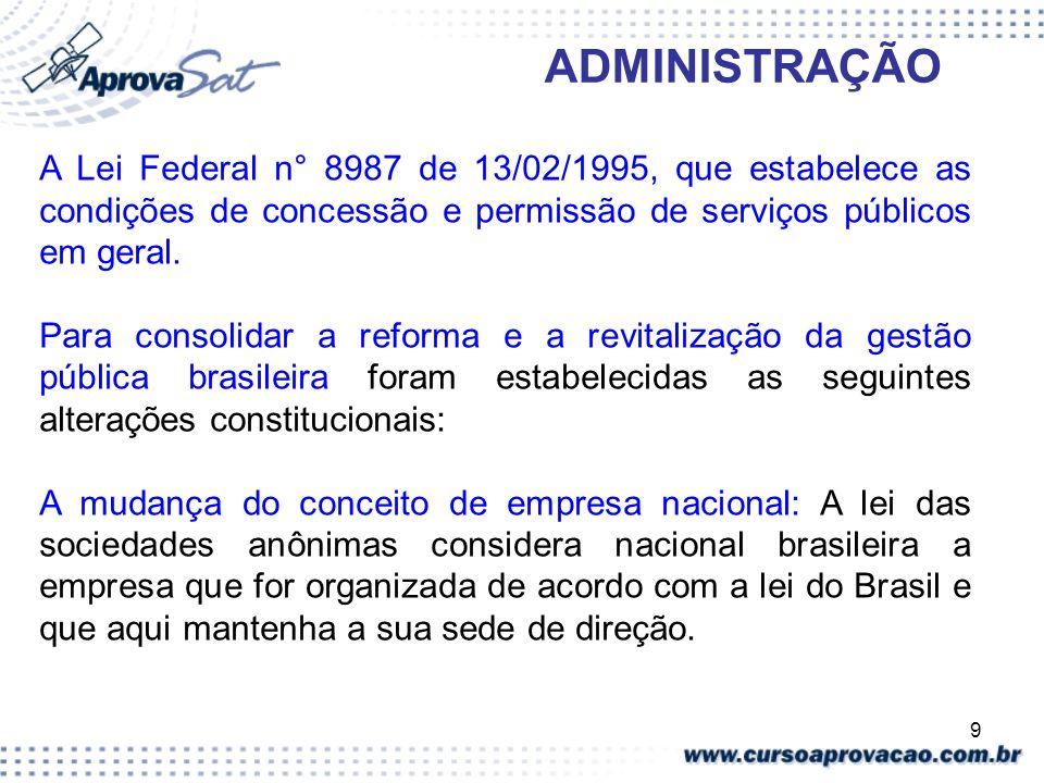 9 ADMINISTRAÇÃO A Lei Federal n° 8987 de 13/02/1995, que estabelece as condições de concessão e permissão de serviços públicos em geral. Para consolid