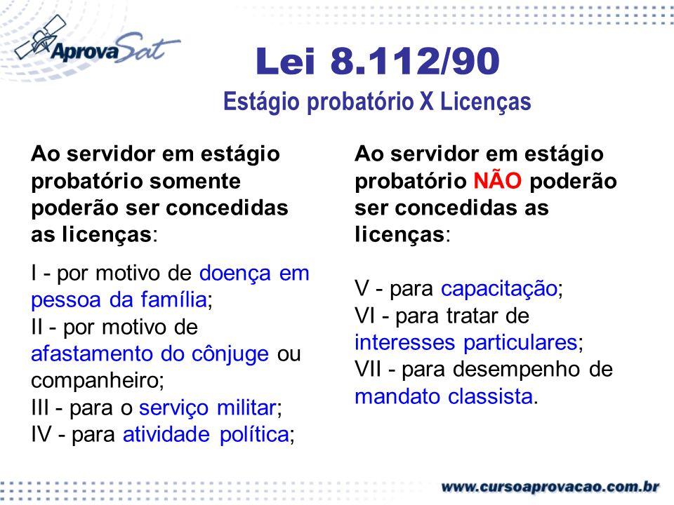 Lei 8.112/90 Estágio probatório X Licenças Ao servidor em estágio probatório somente poderão ser concedidas as licenças: I - por motivo de doença em p