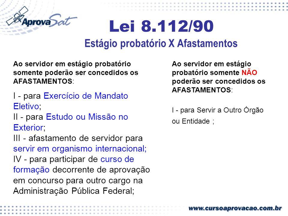 Lei 8.112/90 Estágio probatório X Afastamentos Ao servidor em estágio probatório somente poderão ser concedidos os AFASTAMENTOS: I - para Exercício de