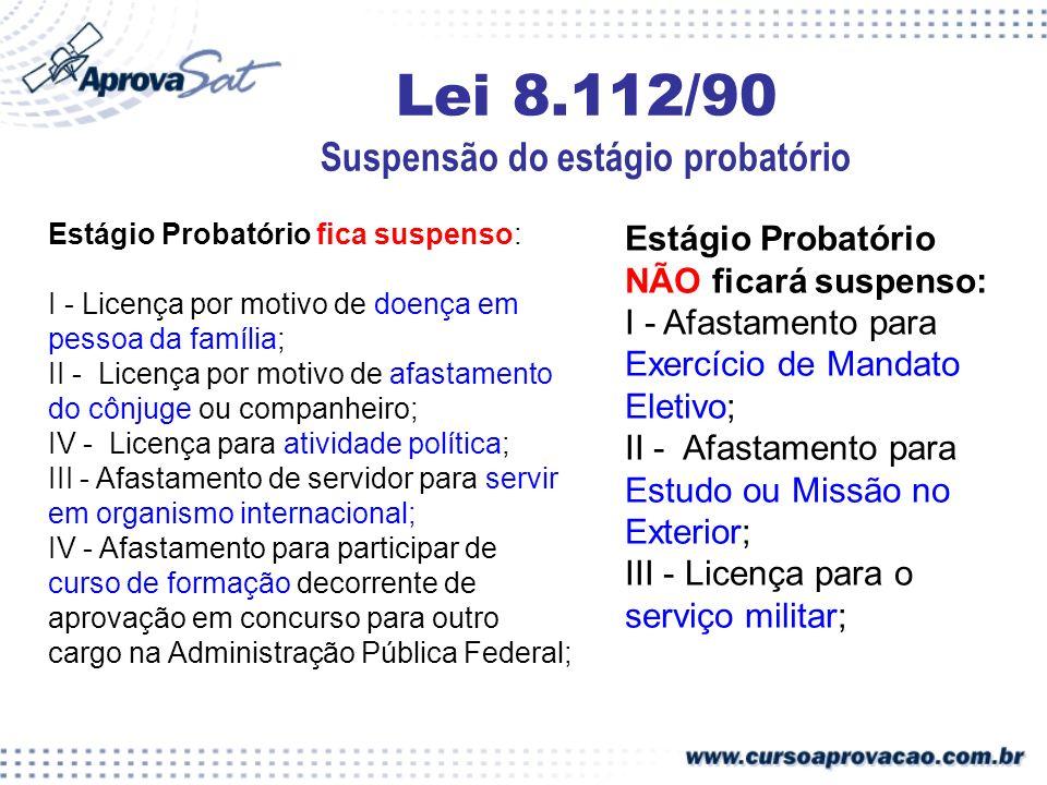 Lei 8.112/90 Suspensão do estágio probatório Estágio Probatório fica suspenso: I - Licença por motivo de doença em pessoa da família; II - Licença por