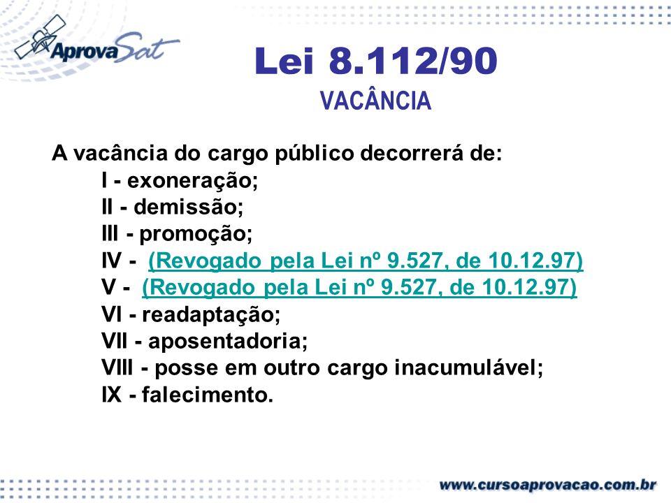 Lei 8.112/90 VACÂNCIA A vacância do cargo público decorrerá de: I - exoneração; II - demissão; III - promoção; IV - (Revogado pela Lei nº 9.527, de 10