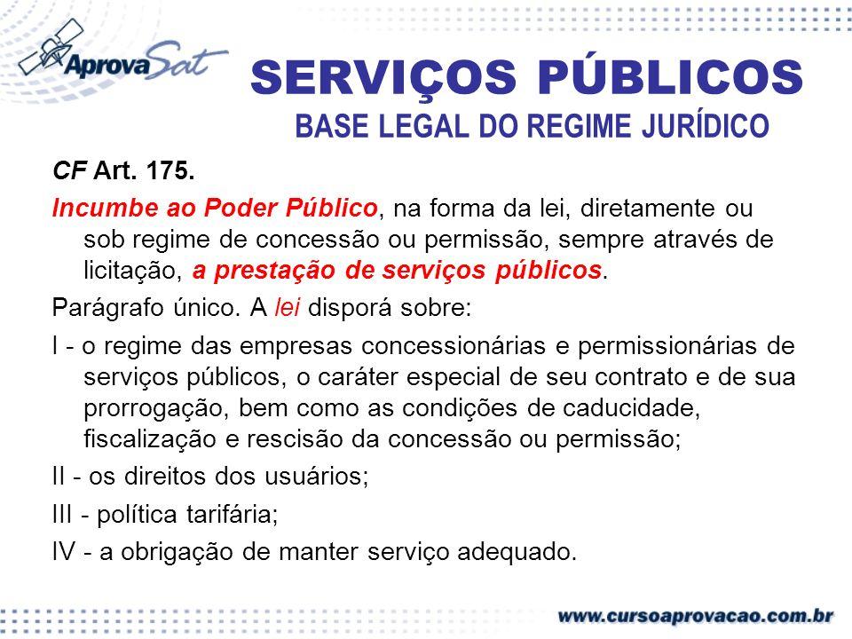 SERVIÇOS PÚBLICOS BASE LEGAL DO REGIME JURÍDICO CF Art. 175. Incumbe ao Poder Público, na forma da lei, diretamente ou sob regime de concessão ou perm