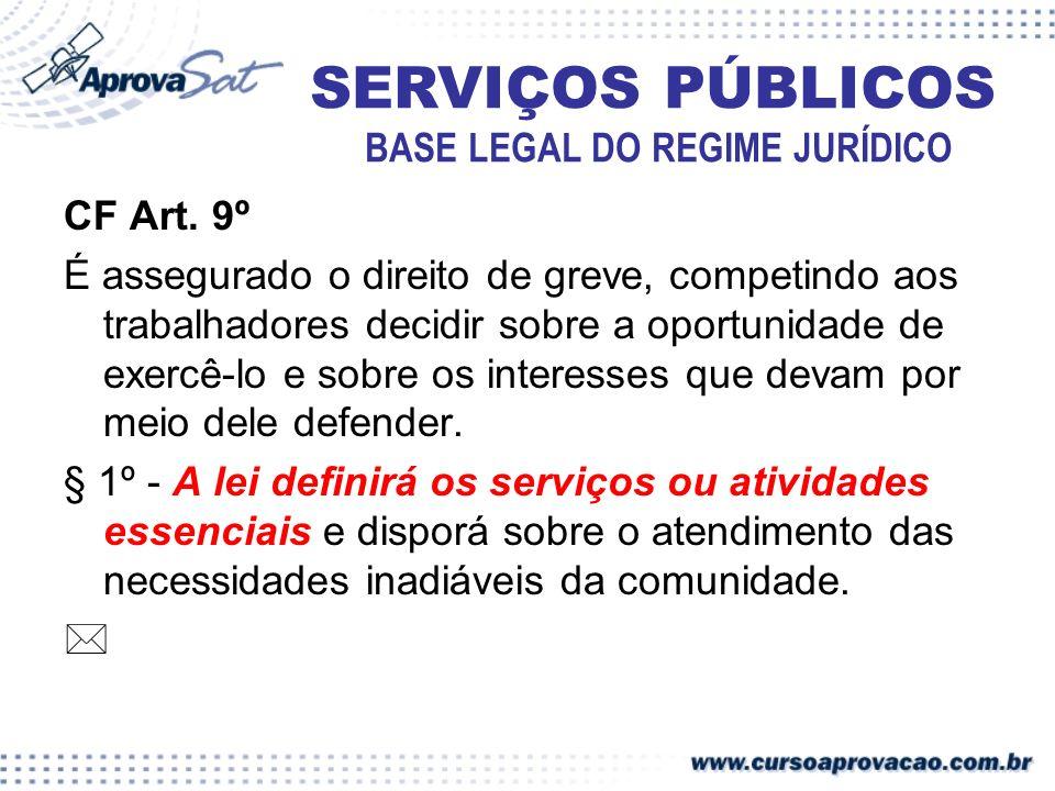 SERVIÇOS PÚBLICOS REGULAMENTAÇÃO E CONTROLE Lei 8.987/95 (…) Art.