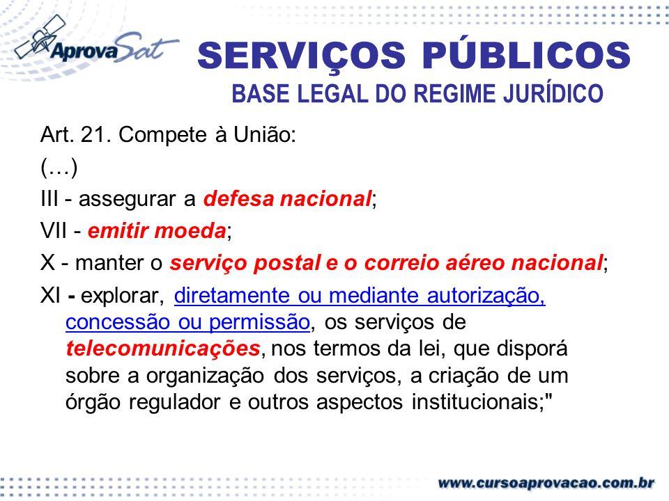Art. 21. Compete à União: (…) III - assegurar a defesa nacional; VII - emitir moeda; X - manter o serviço postal e o correio aéreo nacional; XI - expl