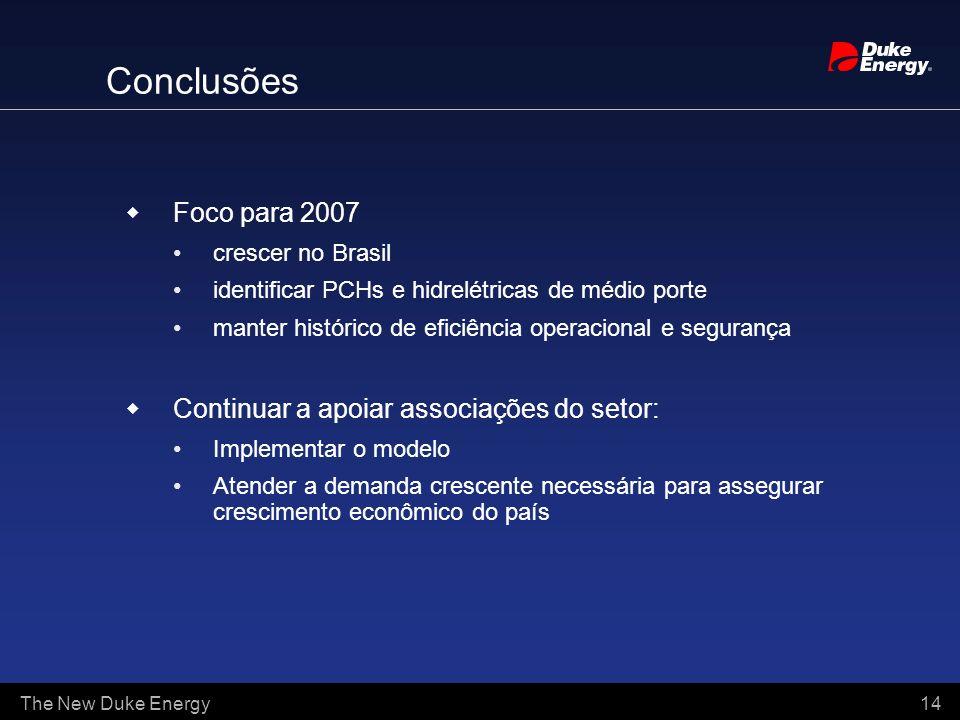 The New Duke Energy 14 Conclusões Foco para 2007 crescer no Brasil identificar PCHs e hidrelétricas de médio porte manter histórico de eficiência oper