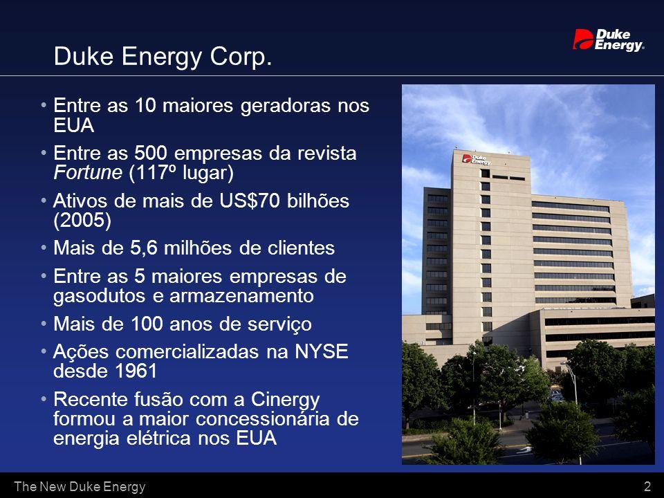 The New Duke Energy 2 Duke Energy Corp. Entre as 10 maiores geradoras nos EUA Entre as 500 empresas da revista Fortune (117º lugar) Ativos de mais de