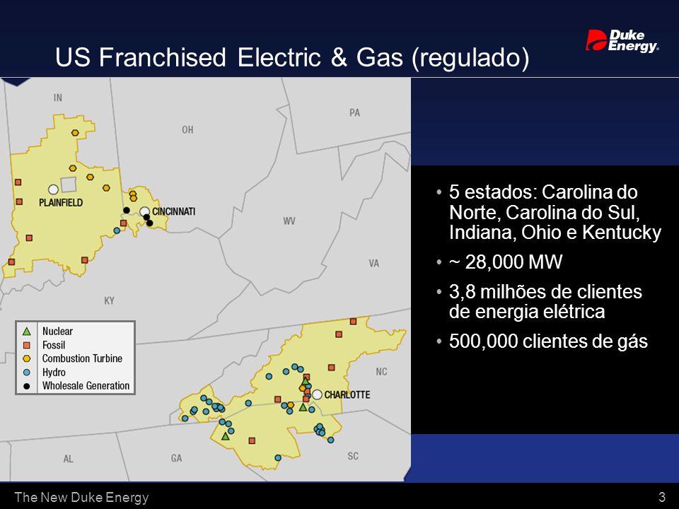 The New Duke Energy 3 5 estados: Carolina do Norte, Carolina do Sul, Indiana, Ohio e Kentucky ~ 28,000 MW 3,8 milhões de clientes de energia elétrica