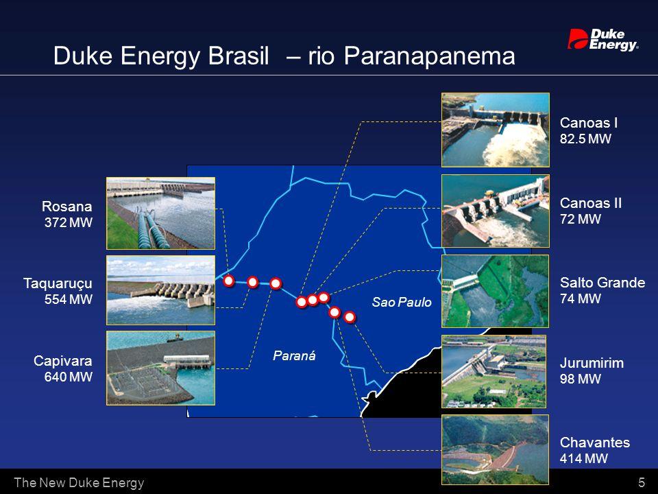 The New Duke Energy 5 Duke Energy Brasil – rio Paranapanema Rosana 372 MW Taquaruçu 554 MW Capivara 640 MW Canoas II 72 MW Salto Grande 74 MW Jurumiri