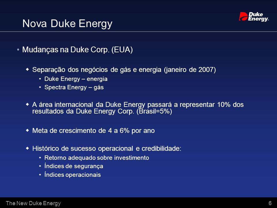 The New Duke Energy 6 Mudanças na Duke Corp. (EUA) Separação dos negócios de gás e energia (janeiro de 2007) Duke Energy – energia Spectra Energy – gá