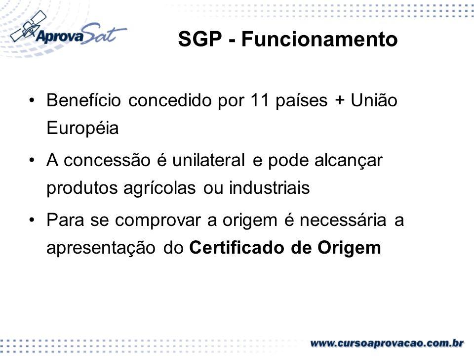 SGP - Funcionamento Benefício concedido por 11 países + União Européia A concessão é unilateral e pode alcançar produtos agrícolas ou industriais Para