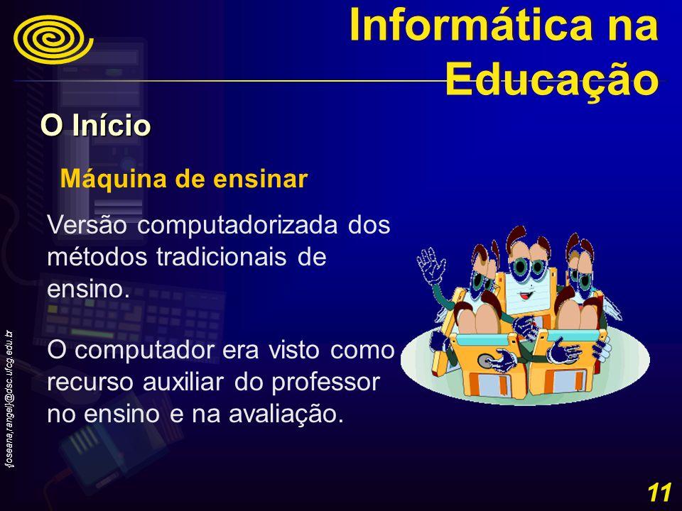 {joseana,rangel}@dsc.ufcg.edu.br 11 Máquina de ensinar Versão computadorizada dos métodos tradicionais de ensino. O computador era visto como recurso