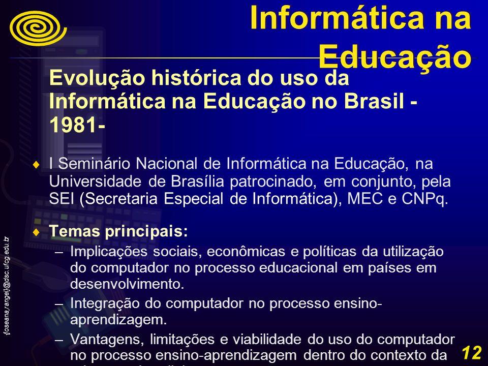 {joseana,rangel}@dsc.ufcg.edu.br 12 Evolução histórica do uso da Informática na Educação no Brasil - 1981- I Seminário Nacional de Informática na Educ