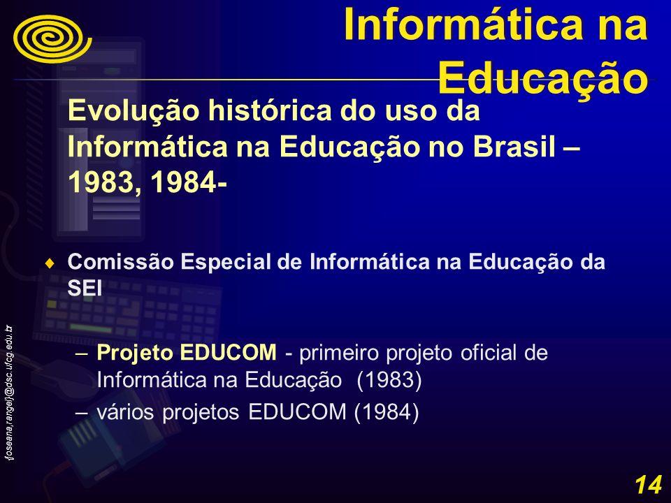 {joseana,rangel}@dsc.ufcg.edu.br 14 Evolução histórica do uso da Informática na Educação no Brasil – 1983, 1984- Comissão Especial de Informática na E