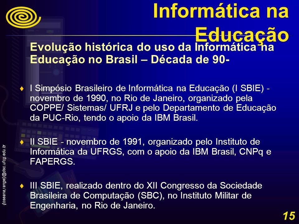 {joseana,rangel}@dsc.ufcg.edu.br 15 Evolução histórica do uso da Informática na Educação no Brasil – Década de 90- I Simpósio Brasileiro de Informátic