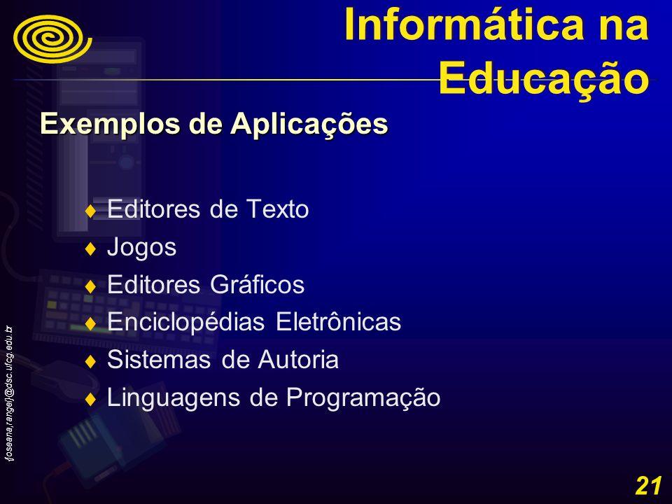 {joseana,rangel}@dsc.ufcg.edu.br 21 Editores de Texto Jogos Editores Gráficos Enciclopédias Eletrônicas Sistemas de Autoria Linguagens de Programação