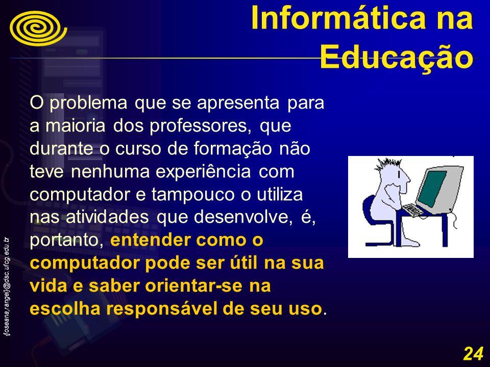 {joseana,rangel}@dsc.ufcg.edu.br 24 O problema que se apresenta para a maioria dos professores, que durante o curso de formação não teve nenhuma exper