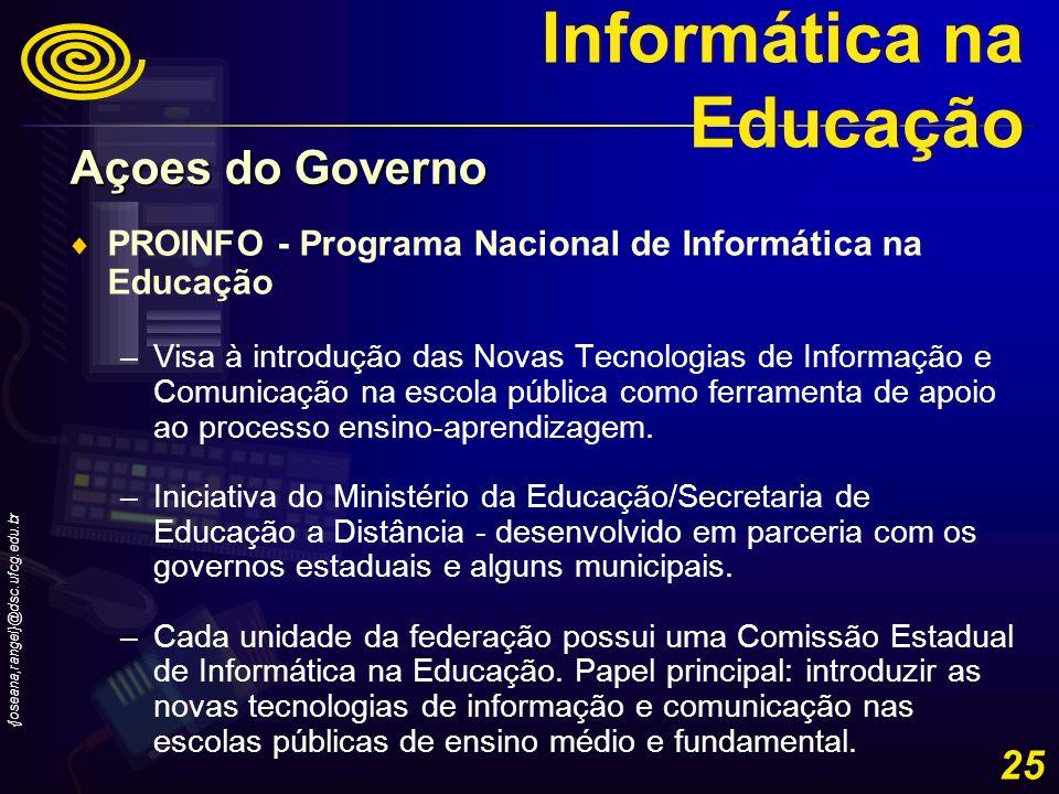 {joseana,rangel}@dsc.ufcg.edu.br 25 PROINFO - Programa Nacional de Informática na Educação –Visa à introdução das Novas Tecnologias de Informação e Co