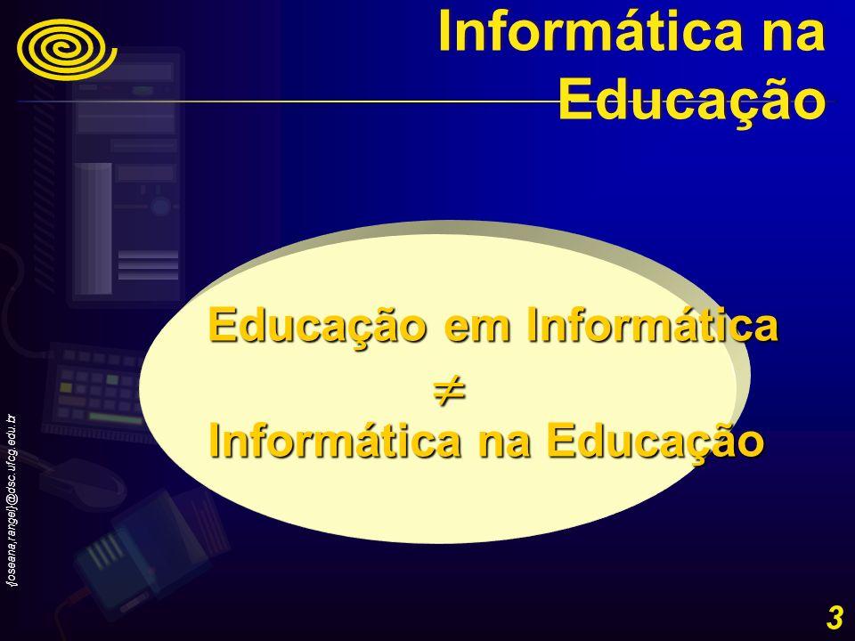 {joseana,rangel}@dsc.ufcg.edu.br 14 Evolução histórica do uso da Informática na Educação no Brasil – 1983, 1984- Comissão Especial de Informática na Educação da SEI –Projeto EDUCOM - primeiro projeto oficial de Informática na Educação (1983) –vários projetos EDUCOM (1984) Informática na Educação