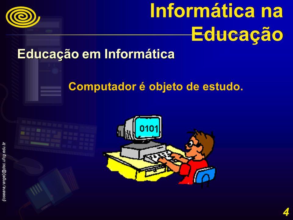 {joseana,rangel}@dsc.ufcg.edu.br 15 Evolução histórica do uso da Informática na Educação no Brasil – Década de 90- I Simpósio Brasileiro de Informática na Educação (I SBIE) - novembro de 1990, no Rio de Janeiro, organizado pela COPPE/ Sistemas/ UFRJ e pelo Departamento de Educação da PUC-Rio, tendo o apoio da IBM Brasil.