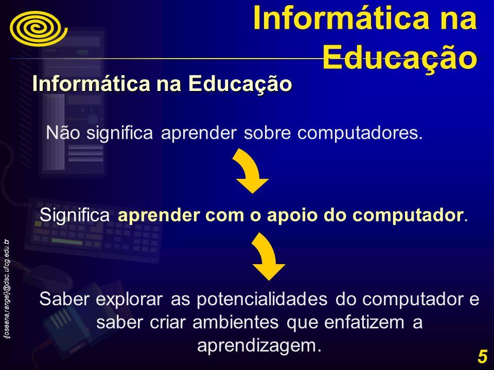 {joseana,rangel}@dsc.ufcg.edu.br 16 Evolução histórica do uso da Informática na Educação no Brasil – Década de 90- Inovações - Introdução do uso da Multimídia, de Redes e do Trabalho Cooperativo na Educação.