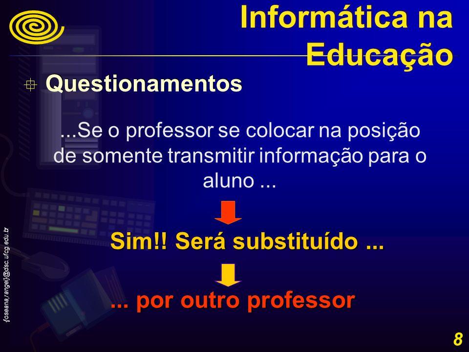 {joseana,rangel}@dsc.ufcg.edu.br 19 Como utilizar o computador? Informática na Educação