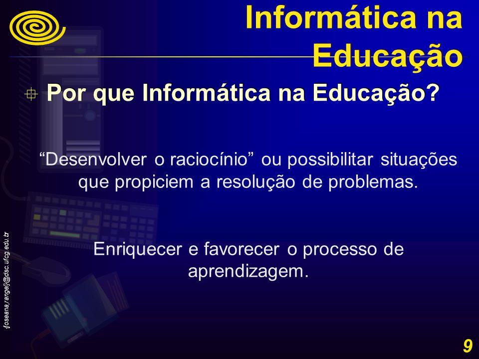 {joseana,rangel}@dsc.ufcg.edu.br 20 Ferramenta de apoio Aprendizagem Ensino Informática na Educação Utilização de ambientes/software Modelagem/construção