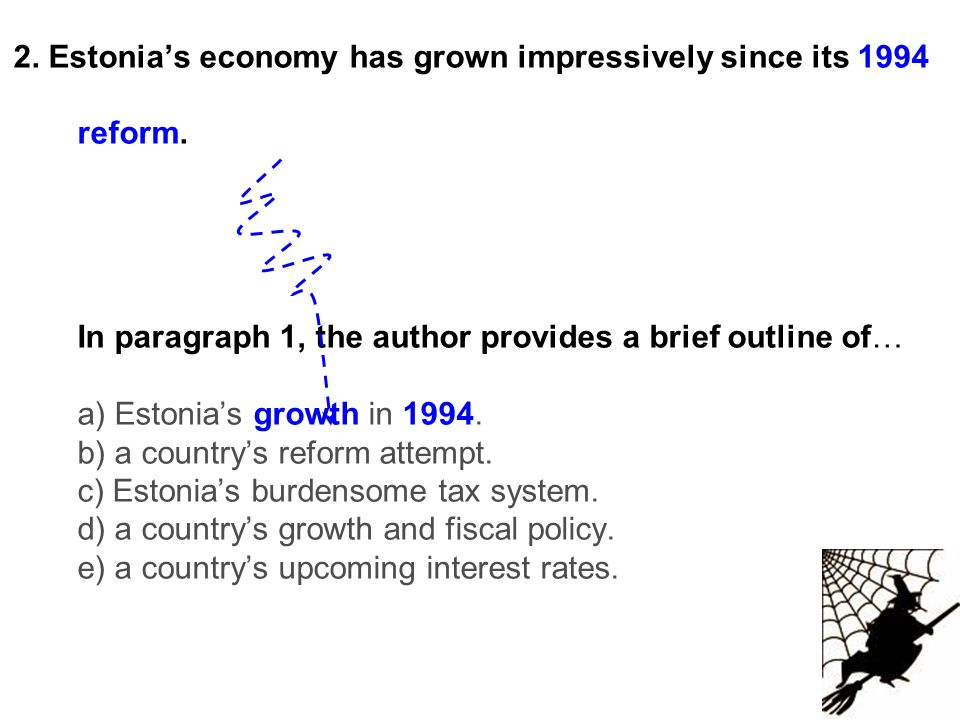 2. Estonias economy has grown impressively since its 1994 reform. In paragraph 1, the author provides a brief outline of… a) Estonias growth in 1994.