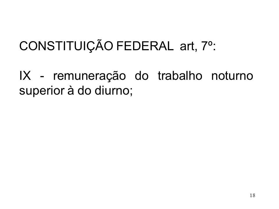 18 CONSTITUIÇÃO FEDERAL art, 7º: IX - remuneração do trabalho noturno superior à do diurno;