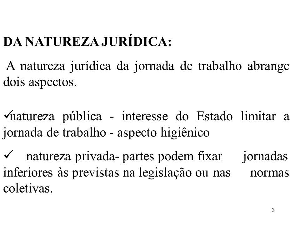 2 DA NATUREZA JURÍDICA: A natureza jurídica da jornada de trabalho abrange dois aspectos. natureza pública - interesse do Estado limitar a jornada de
