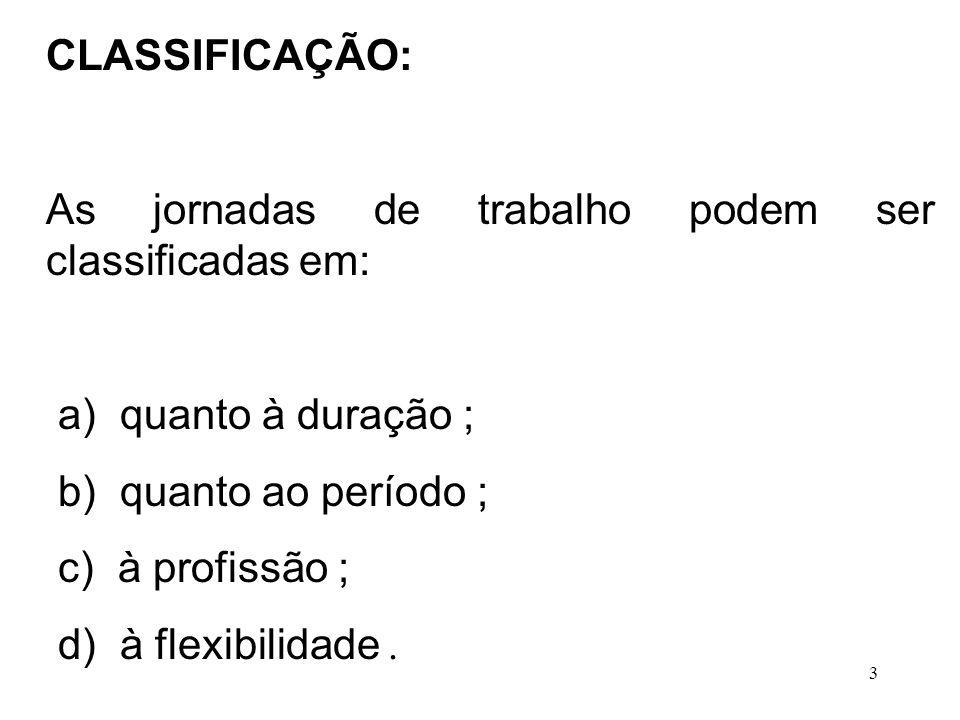 3 CLASSIFICAÇÃO: As jornadas de trabalho podem ser classificadas em: a) quanto à duração ; b) quanto ao período ; c) à profissão ; d) à flexibilidade.