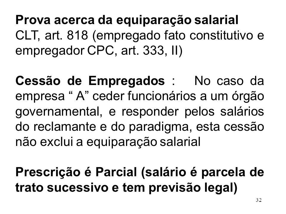 32 Prova acerca da equiparação salarial CLT, art. 818 (empregado fato constitutivo e empregador CPC, art. 333, II) Cessão de Empregados : No caso da e