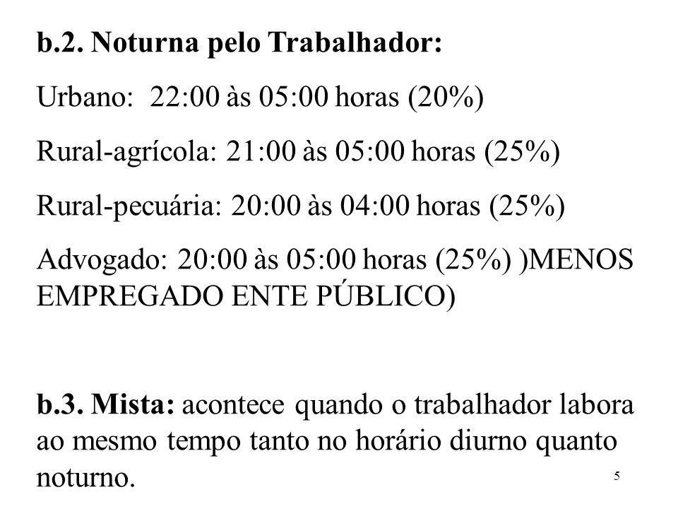 5 b.2. Noturna pelo Trabalhador: Urbano: 22:00 às 05:00 horas (20%) Rural-agrícola: 21:00 às 05:00 horas (25%) Rural-pecuária: 20:00 às 04:00 horas (2