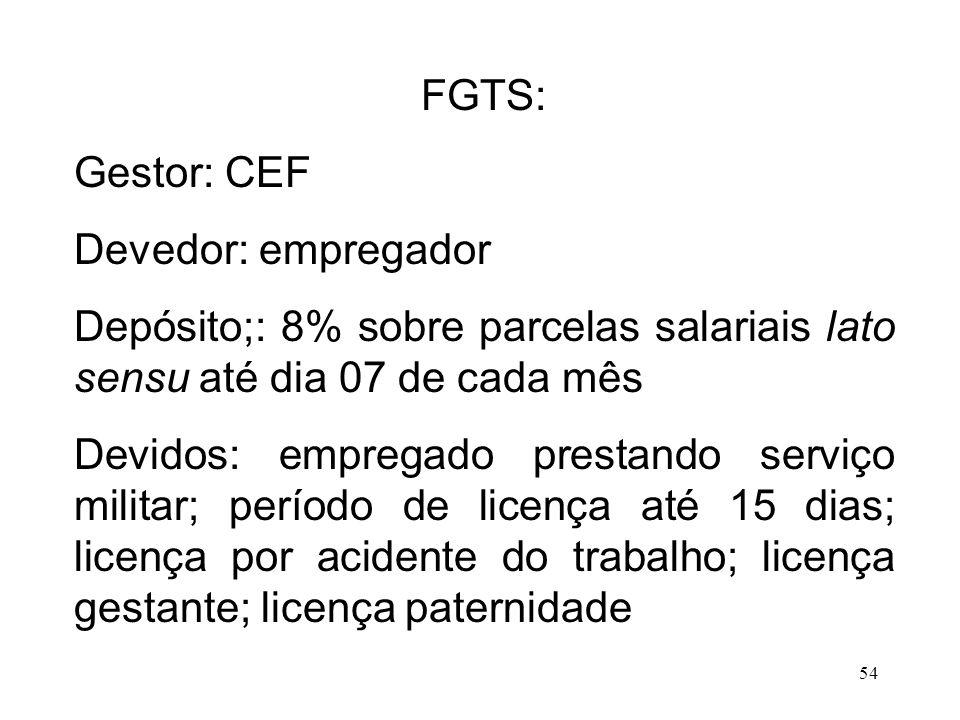 54 FGTS: Gestor: CEF Devedor: empregador Depósito;: 8% sobre parcelas salariais lato sensu até dia 07 de cada mês Devidos: empregado prestando serviço