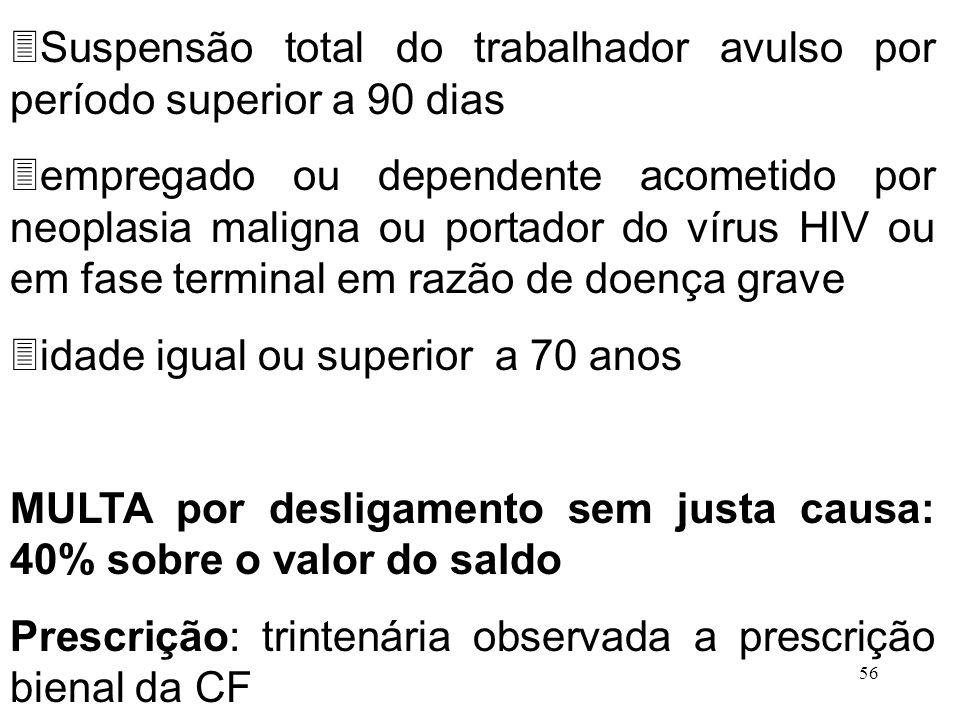 56 3Suspensão total do trabalhador avulso por período superior a 90 dias 3empregado ou dependente acometido por neoplasia maligna ou portador do vírus