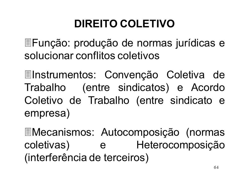 64 DIREITO COLETIVO 3Função: produção de normas jurídicas e solucionar conflitos coletivos 3Instrumentos: Convenção Coletiva de Trabalho (entre sindic