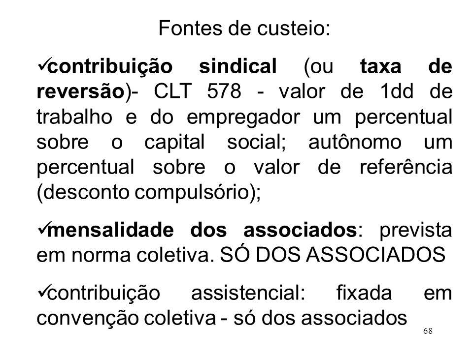 68 Fontes de custeio: contribuição sindical (ou taxa de reversão)- CLT 578 - valor de 1dd de trabalho e do empregador um percentual sobre o capital so
