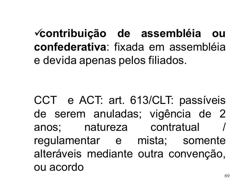 69 contribuição de assembléia ou confederativa: fixada em assembléia e devida apenas pelos filiados. CCT e ACT: art. 613/CLT: passíveis de serem anula
