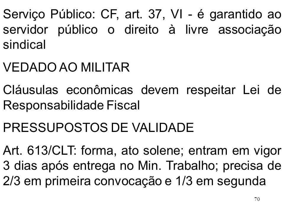 70 Serviço Público: CF, art. 37, VI - é garantido ao servidor público o direito à livre associação sindical VEDADO AO MILITAR Cláusulas econômicas dev