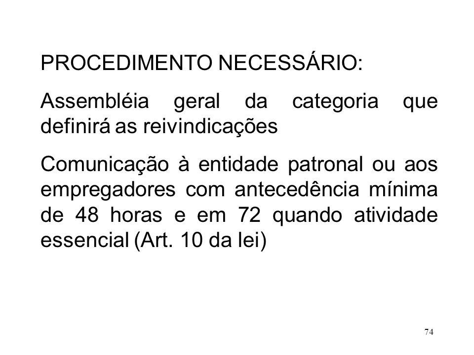 74 PROCEDIMENTO NECESSÁRIO: Assembléia geral da categoria que definirá as reivindicações Comunicação à entidade patronal ou aos empregadores com antec