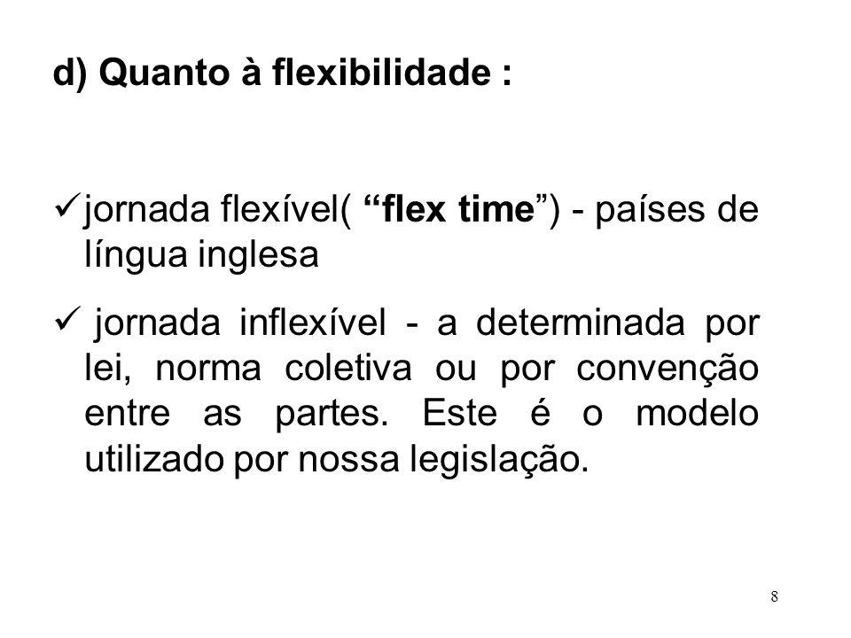 8 d) Quanto à flexibilidade : jornada flexível( flex time) - países de língua inglesa jornada inflexível - a determinada por lei, norma coletiva ou po