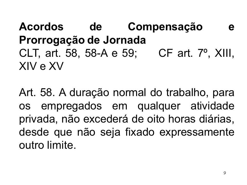 9 Acordos de Compensação e Prorrogação de Jornada CLT, art. 58, 58-A e 59; CF art. 7º, XIII, XIV e XV Art. 58. A duração normal do trabalho, para os e