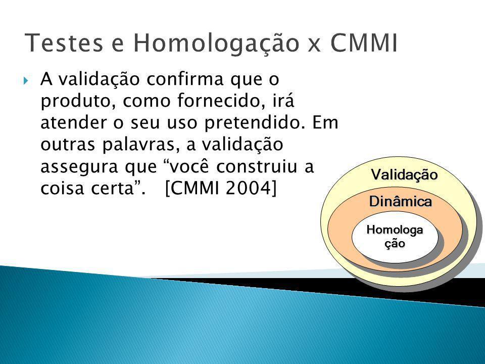 Testes e Homologação x CMMI Validação Dinâmica Homologa ção A validação confirma que o produto, como fornecido, irá atender o seu uso pretendido. Em o