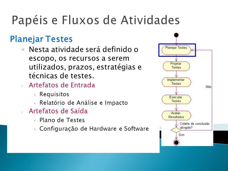 Papéis e Fluxos de Atividades Planejar Testes Nesta atividade será definido o escopo, os recursos a serem utilizados, prazos, estratégias e técnicas d